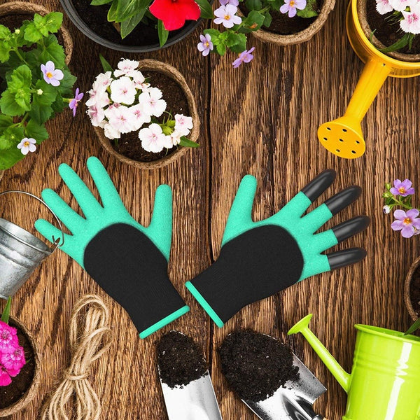 Rubber Gloves with 4 Fingertips for Gardening Digging
