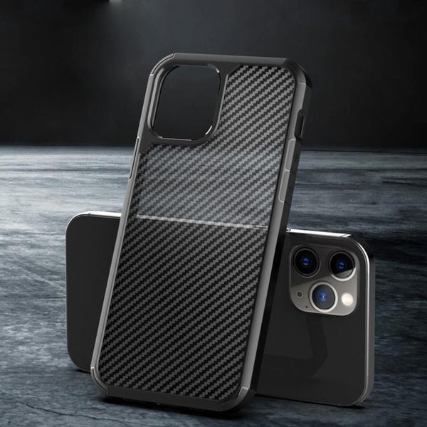 iPhone 12 Series Opaque Matte Carbon Fiber TPU Armor Case