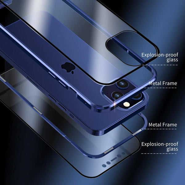 Apple Series Electronic Auto-Fit (Front+ Back) Glass Magnetic Case