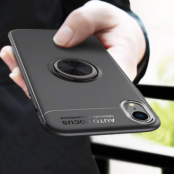 iPhone XR Metallic Finger Ring Holder Matte Case