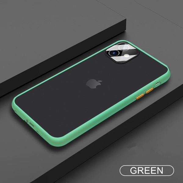 iPhone 11 Series Shockproof Matte Case With Camera Lens Guard