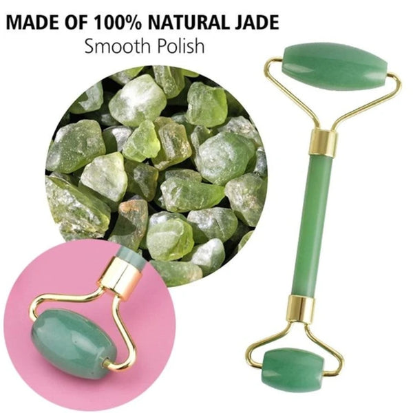 Jade Facial Roller - Natural Beauty Massager for Glowing Skin