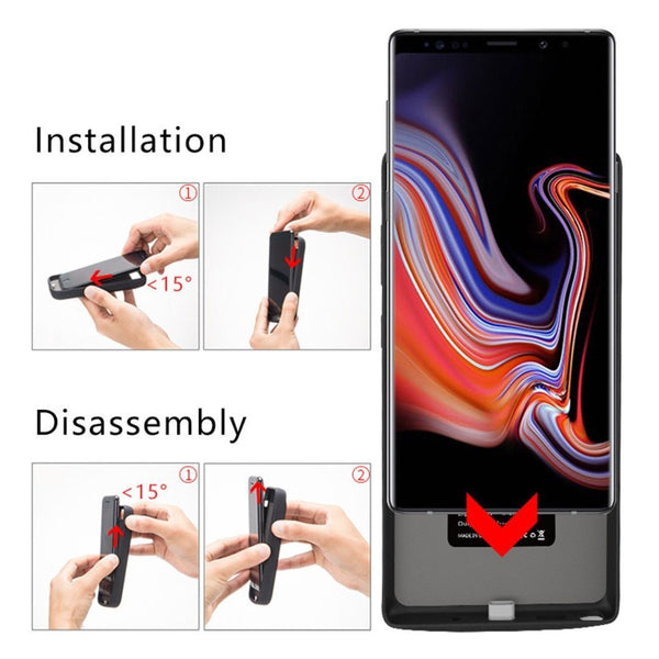 Galaxy Note 10 (3 in 1 Combo) 6000 mAh Battery Shell Case + Tempered Glass + Camera Lens Guard