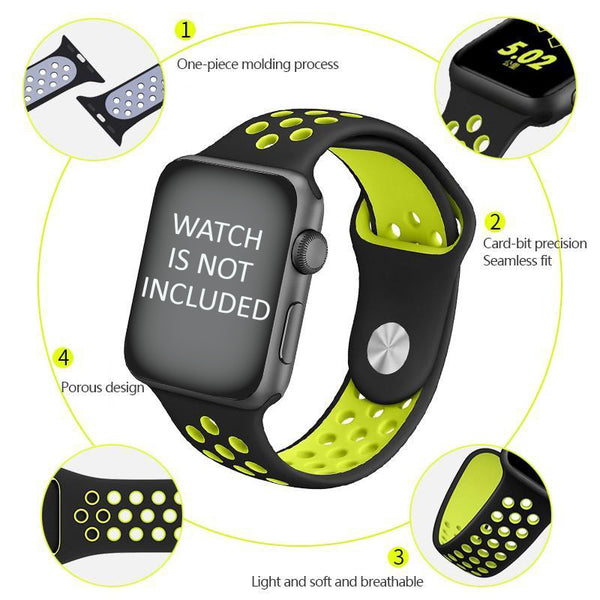 Perforated Sport Edition 42mm Strap for Apple Watch - Black Green (ONLY STRAP NOT WATCH)