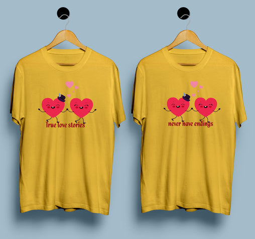 Couple T-shirts - True Love Stories - Never Have Endings