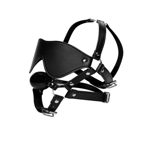 Blindfold and Ball Gag Bondage Head Harness