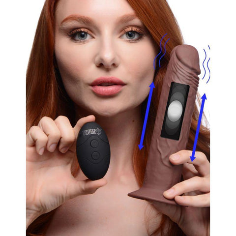 Remote Control Vibrating and Thumping Dildo - Brown