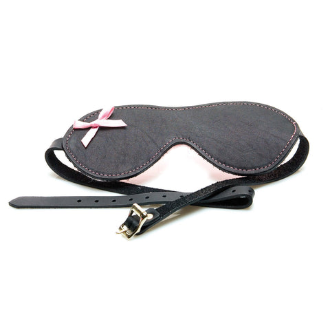 Sex Kitten Leather Buckle Blindfold with Pink Bow