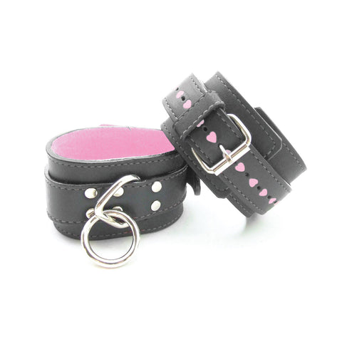 Sex Kitten Black and Pink Fur Lined Leather Wrist Cuffs