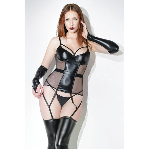 Wet Look Fishnet Sided Bustier with Removable Garters