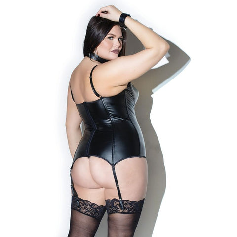 Wet Look Demi-Cup Bustier with Removable Garters - Plus Size