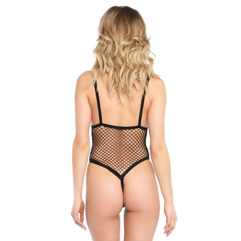 Fishnet G-String Side Boob Teddy