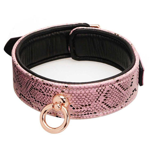 Spartacus Collar and Leash with Leather Lining - Pink Snakeskin and Rose Gold