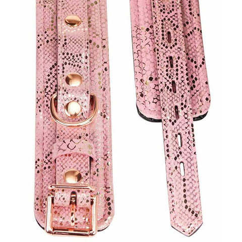 Spartacus Ankle Cuffs with Leather Lining - Pink Snakeskin
