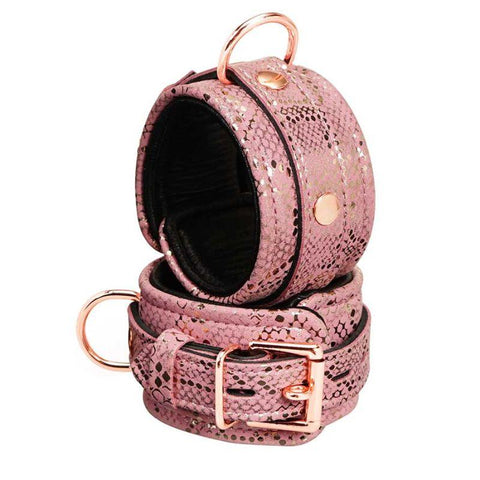 Spartacus Wrist Cuffs with Leather Lining - Pink Snakeskin