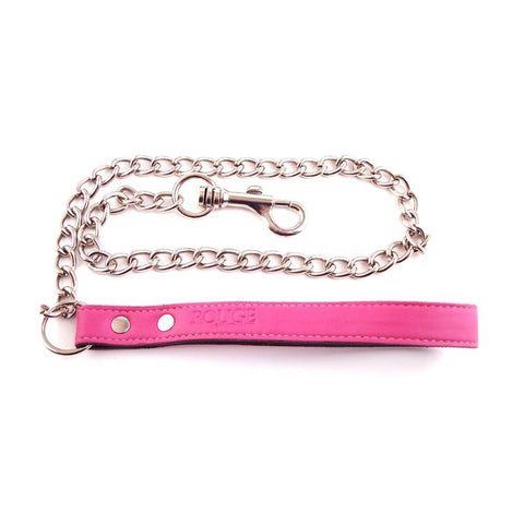 Pink Leash with Leather Handle and Chain