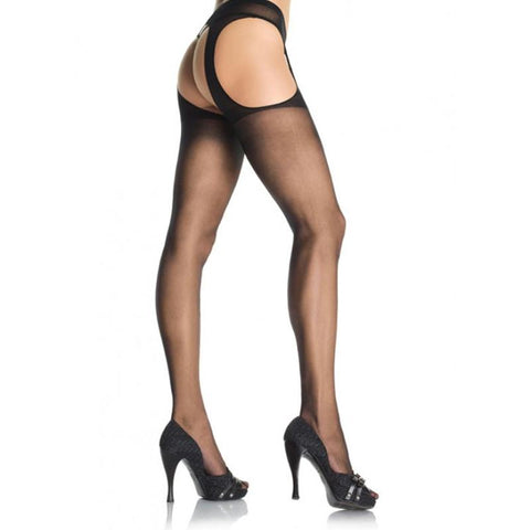 Black Sheer Suspender Pantyhose - Plus Size
