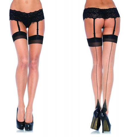 Lycra Thigh High with Backseam & Cuban Heel Sheer and Black