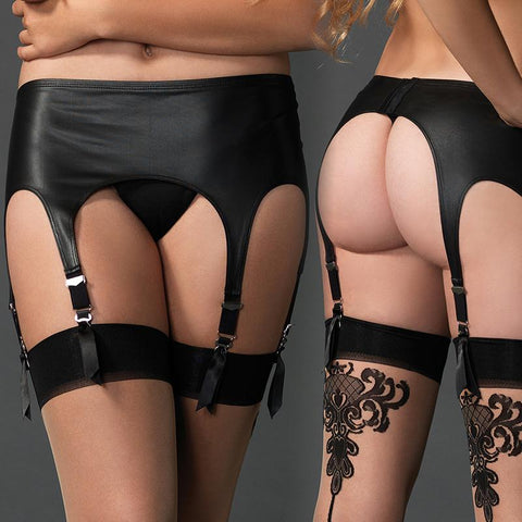 Matte Rubber Look Six Strap Garter Belt