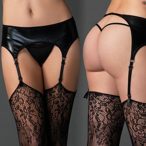 Wet Look Garter Belt - Black
