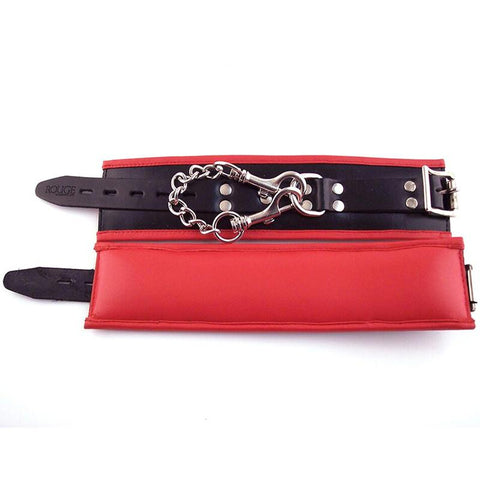 Rouge Padded Leather Wrist Cuffs - Black/Red