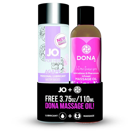 JO Agape Original Water Based Lubricant - 4oz & DONA Flirty Massage Oil - 3.75oz
