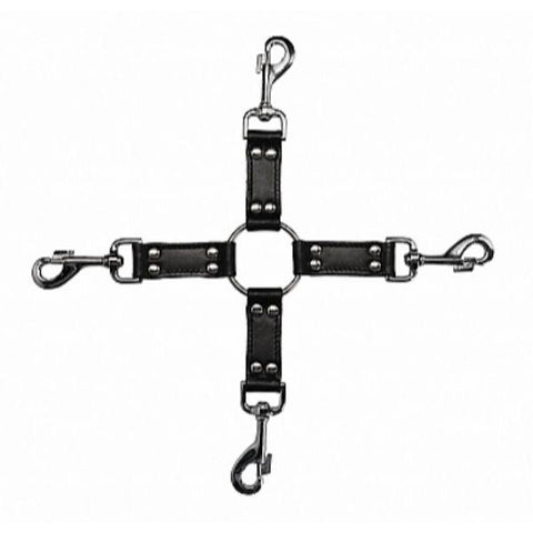 Leather Hogtie Cross with 4 Way Steel Clips