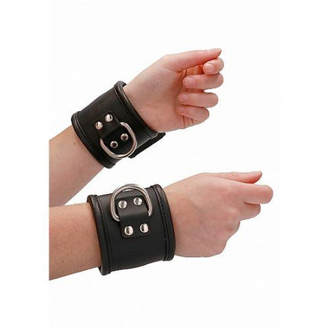 Ouch! Pain - Leather Asylum Wrist Cuffs with Padlock