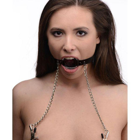 Seize Metal O-Ring Gag with Nipple Clamps