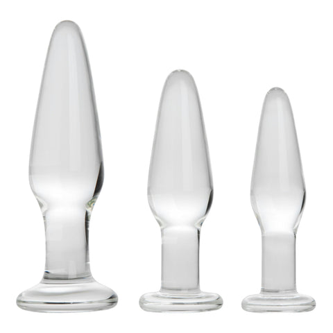 Three piece Borosilicate glass butt plug trainer set