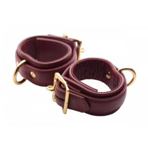 Strict Leather Luxury Locking Wrist Cuffs - Burgundy