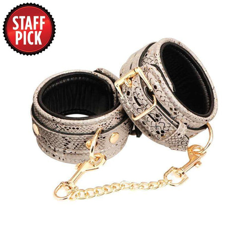 Spartacus Wrist Cuffs with Leather Lining - White Snakeskin
