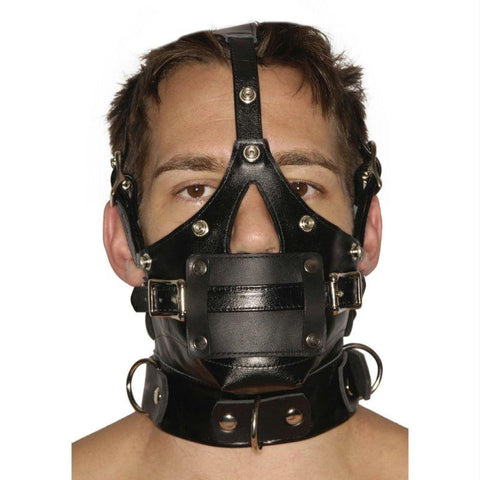 Strict Leather Premium Muzzle with Blindfold and Interchangeable Gags