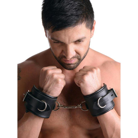 Strict Leather Wrist Cuffs - Padded Premium Locking Wrist Restraints