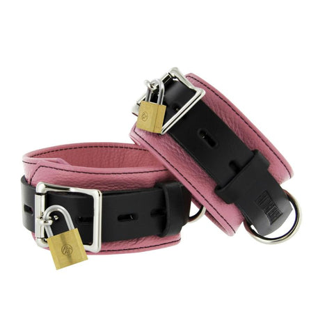 Strict Leather Ankle Cuffs - Pink and Black Deluxe Locking Ankle Restraints