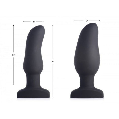 Curved Remote Control Inflatable 10X Vibrating Silicone Anal Plug