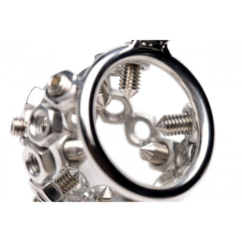 Bolted CBT Chastity Cage with Movable Spikes