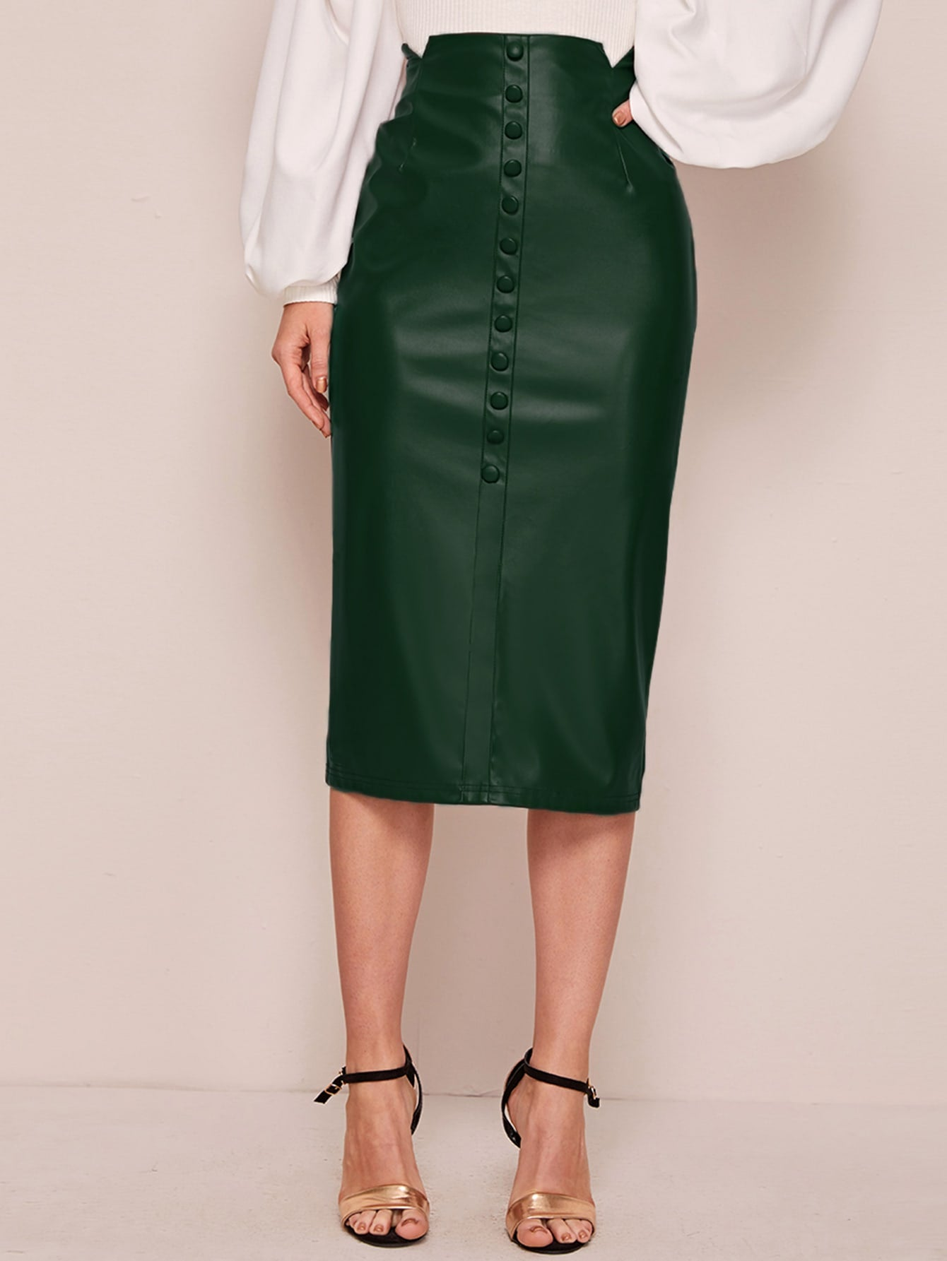 Buttoned Front Leather Skirt