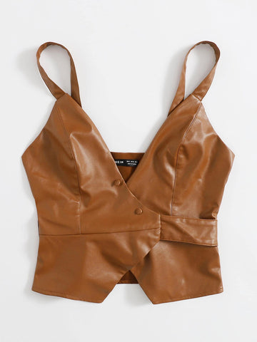Womens Belted PU Leather Top