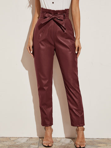 Womens Paperbag Belted PU Leather Pants