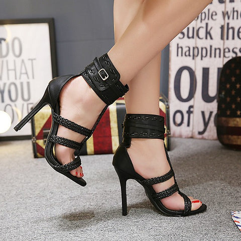 Black Ankle Cuff Heels