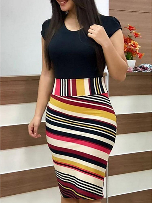 A Line Striped Dress