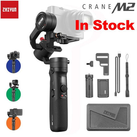 ZHIYUN Crane M2 3-Axis Handheld Gimbals Stabilizer for Smartphones Compact Mirrorless Cameras & Action Cameras Maxload 500g