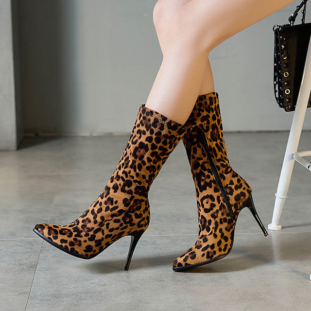 Women's Boots Print Shoes Stiletto Heel Pointed Toe Suede / PU Mid-Calf Boots Casual / Minimalism Spring &  Fall / Fall & Winter Black / Leopard / White
