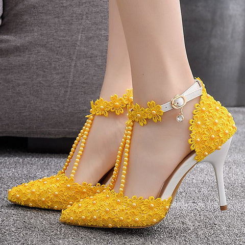Yellow Studded Flower Heels