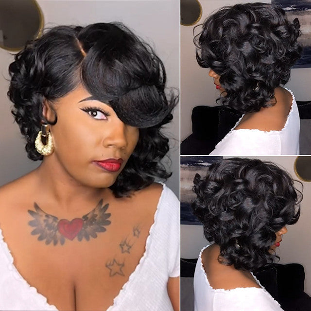 Short Side Part Curly Wig