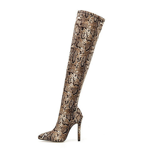Over The Knee Snake Skin Boots