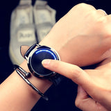 Minimalist Leather Waterproof LED Watch