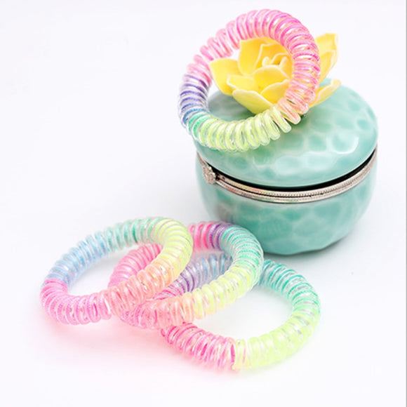 Colorful Hair Rope for Women hot Telephone Cord Hair Ring Kids  Elasticity epc hair Bands for Girls Hair Accessories