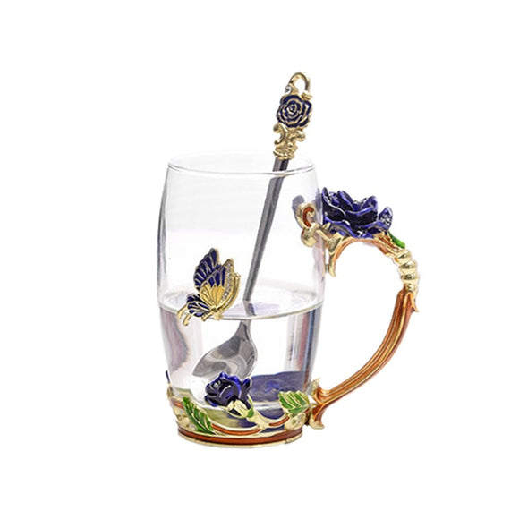Colorful Roses Enamel Water Glass